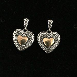 Vintage Heart ❤️ Sterling Silver & Gold Earrings